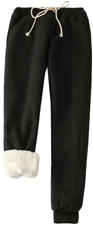 Flygo Women's Winter Warm Fleece Joggers Pants Sherpa Lined Sweatpants Active Track Pant