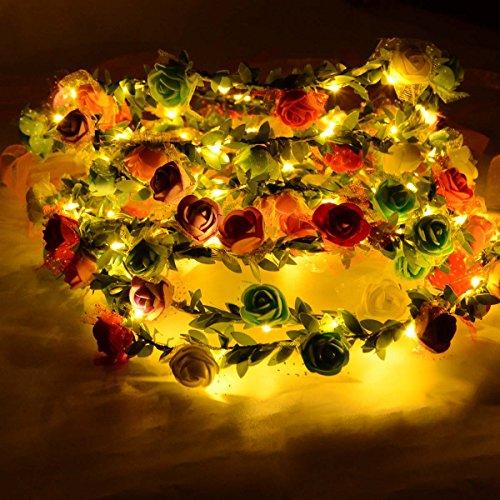 Homeleo 6-Pack Light Up Flower Crown, LED Rose Flower Light Up Tiara, Wreath Garland Headband, Halloween Fairy Make up (Make A Halloween Wreath)