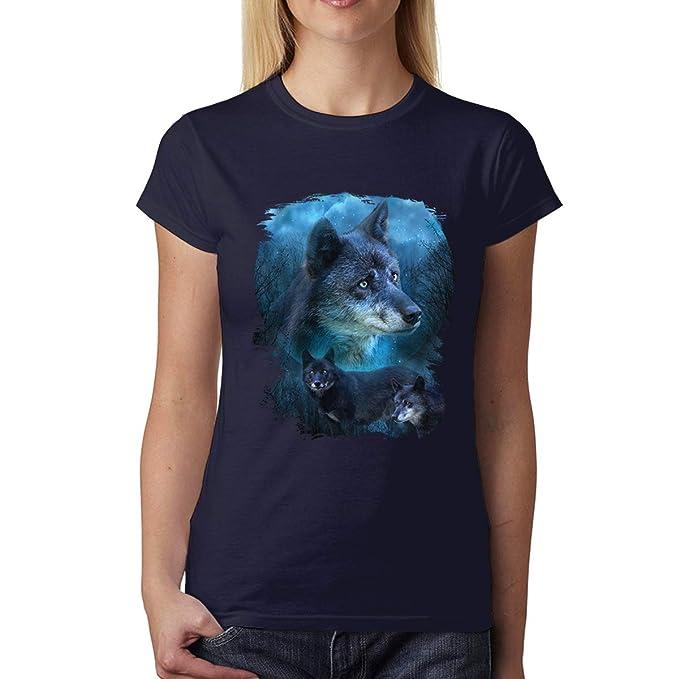 avocadoWEAR Lobo Azul Caza Mujer Camiseta XS-3XL: Amazon.es: Ropa y accesorios