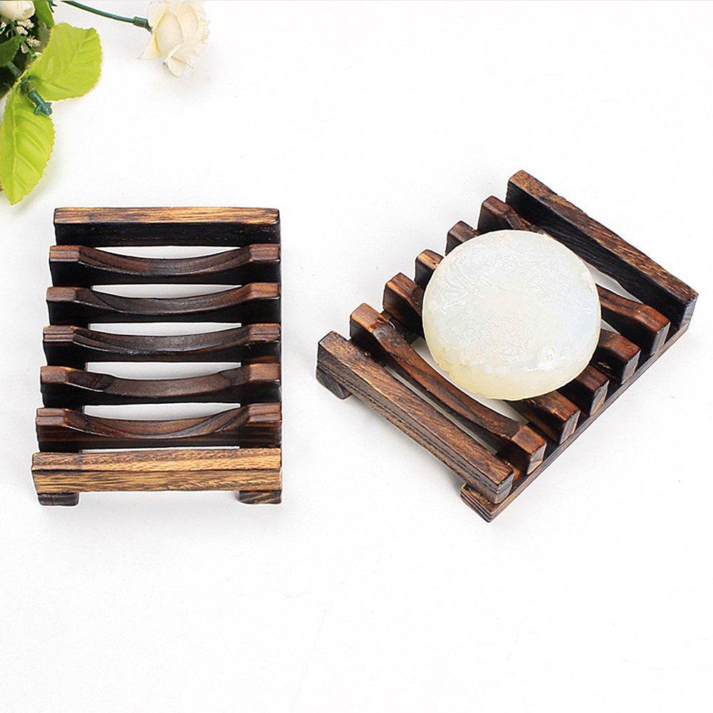 Fatto a mano in legno portasapone in bambù Holder Sundries rack per bagno doccia spugna scrubber sapone Tookie
