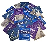 Snug Fit Variety Pack with Silver Pocket/Travel Case- Lifestyles, Crown, Kimono, and Caution Wear Lubricated Latex Condoms-24 Count