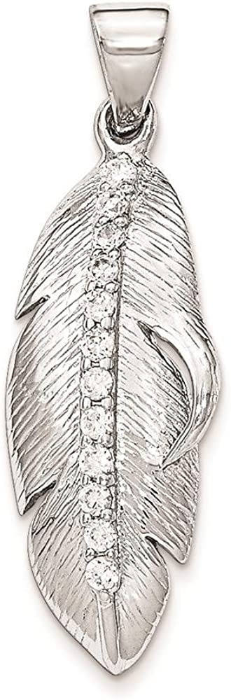 925 Sterling Silver Polished /& Textured CZ Feather Charm Pendant