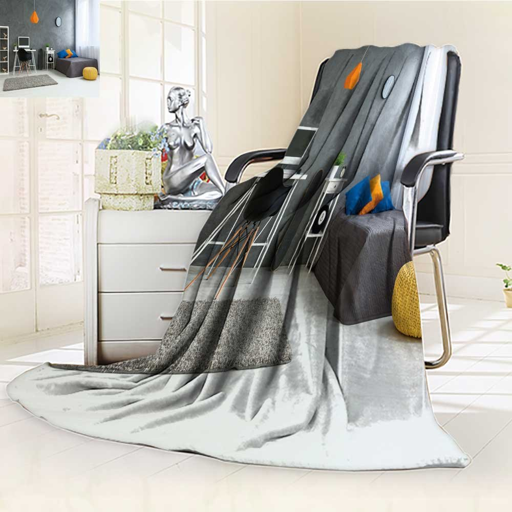 Microfiber Fleece Comfy All Season Super Soft Cozy Blanket cozy stylish bedroom designed for teenage boy grey walls and wooden floor on th for Bed Couch and Gift Blankets(90''x 70'')