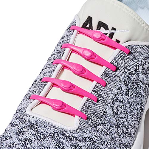 (HICKIES 2.0 Performance One-Size Fits All No Tie Elastic Laces - Neon Pink (14 HICKIES Shoelaces, Works in all shoes))