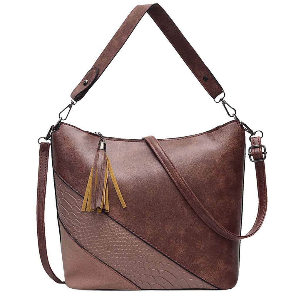 Women Satchel Leather Color Block Croc Pattern Latest Message Bag with Handle Rivet Stud Laptop Briefcase Vintage
