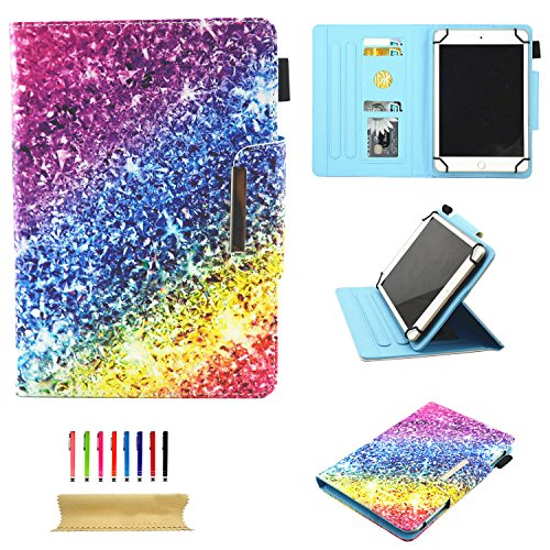Uliking Universal Case for All 9.5-10.5 inch Touchscreen Android Tablet, Stand Folio PU Leather Wallet Cover with Card Slots Pencil Holder for Kindle Samsung Apple ipad Tablet,ECT, Colorful Diamond ()