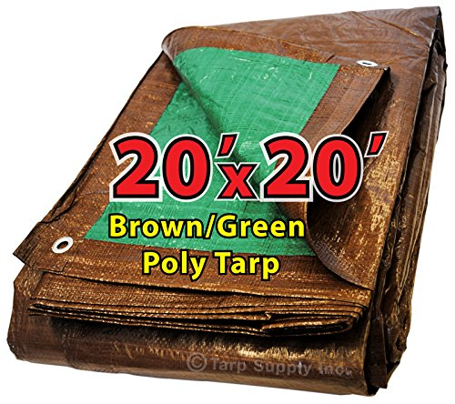 20' x 20' Reversible All Purpose 10 by 8 Cross Weave 5 Mil Brown/Green Poly Tarp with Grommets Approx Every 3 feet All Around Cross Weave Patio