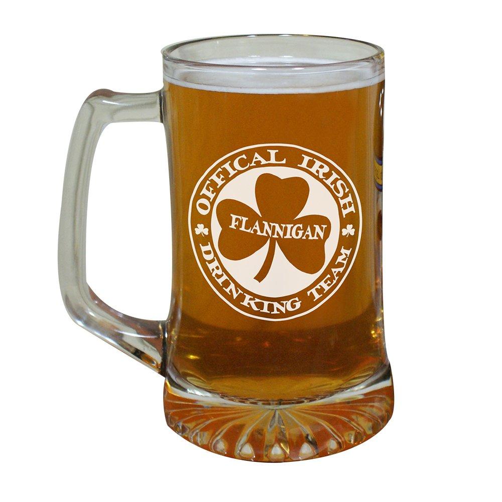 Irish Drinking Team Personalized Glass Mug, Engraved, 25 oz. GiftsForYouNow