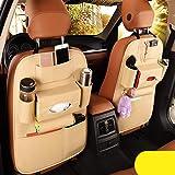 2 Pack PU Leather Premium Car SeatBack Organizer Travel Accessories, Car Seat Back Organizer Seat Protector/Kick mats…
