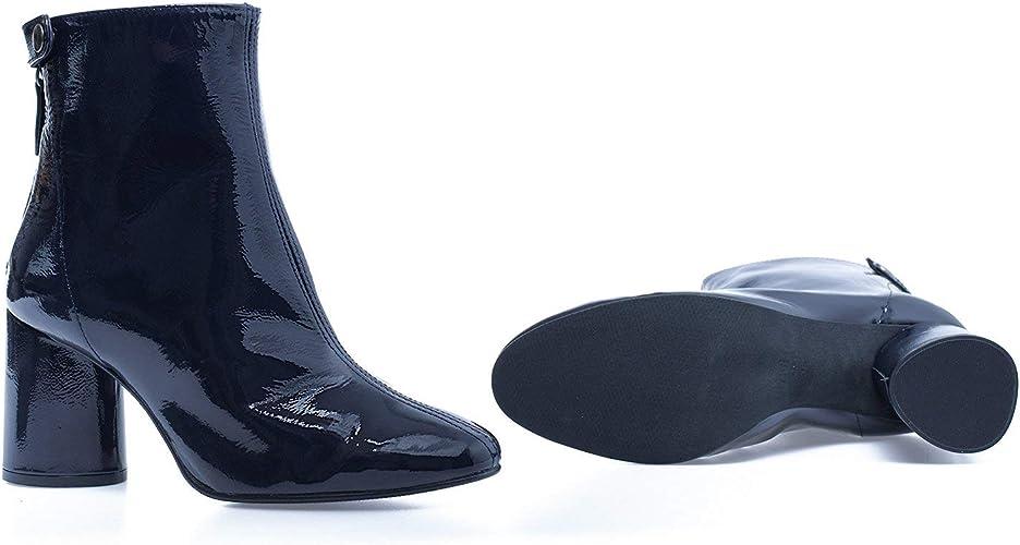 Charol Botín de Charol Arrugado Azul Marino: Amazon.es: Zapatos y ...