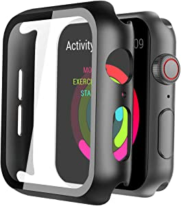 Ysiueng Hard Case Compatible with Apple Watch Series 3/2/1 38mm with Screen Protector, Ultra Thin HD Tempered Glass Screen Protection Overall Protective Cover for iwatch Series 3/2/1