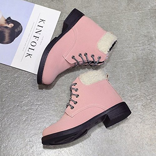 CHNHIRA WomenS Leather Short Boots Close Toe Shoes Block Heel Warm Lining Pink