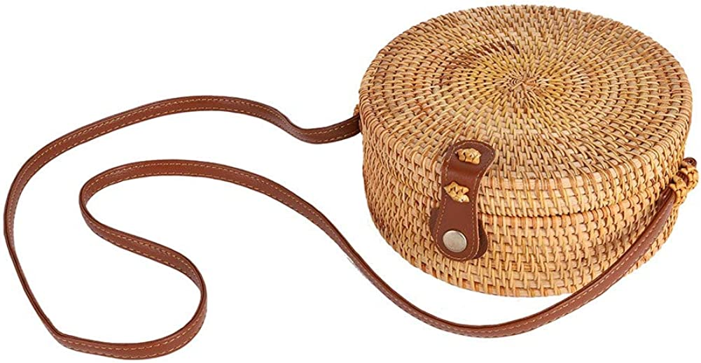 Forart Handwoven Round Rattan Bag Shoulder Leather Straps Natural Chic Circle Handbag Crossbody Bags(Ship from USA)