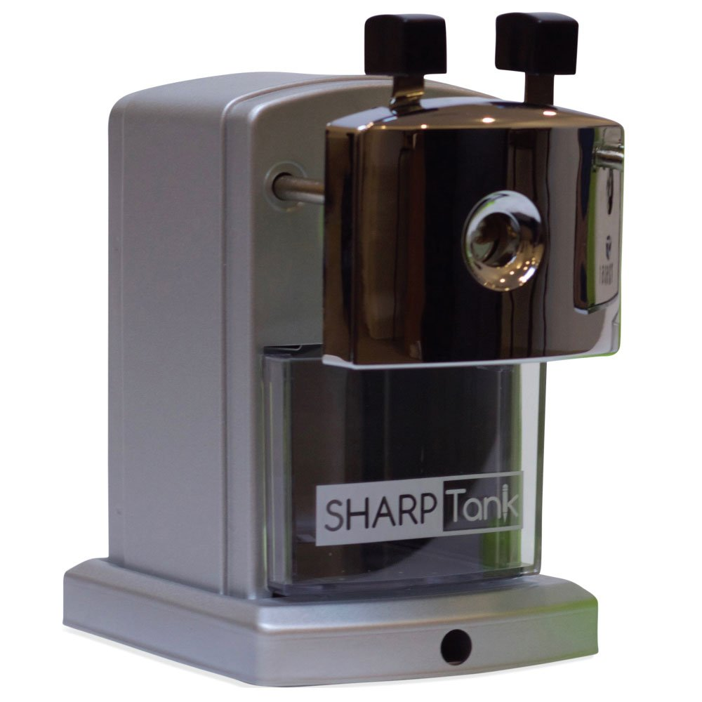 SharpTank Portable Pencil Sharpener (Metallic Silver) | Compact & Quiet Classroom Sharpener That Gets Straight to the Point! by SHARP TANK