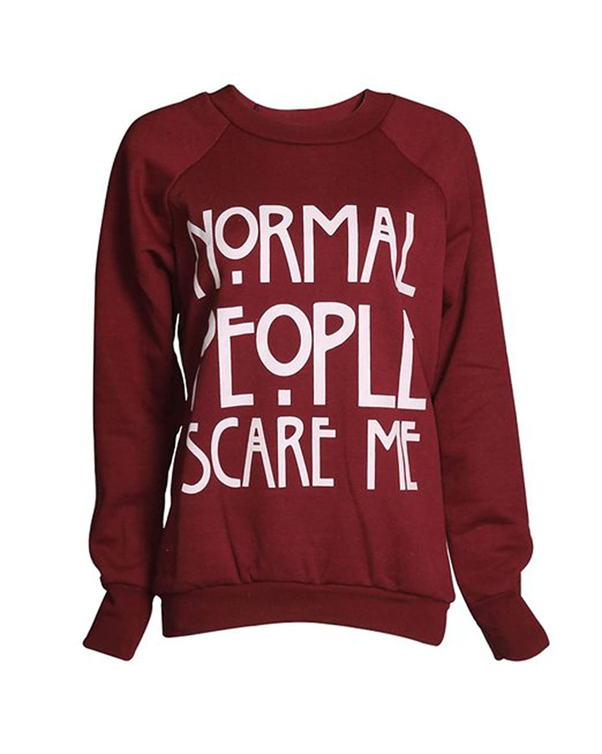 FashionMark Women's Normal People Scare Me Print Fleece Sweatshirt Hoodie