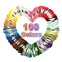 Yosoo 100 Different Colors Cross Stitch Cotton Embroidery Thread floss variegated Sewing Skeins multi color