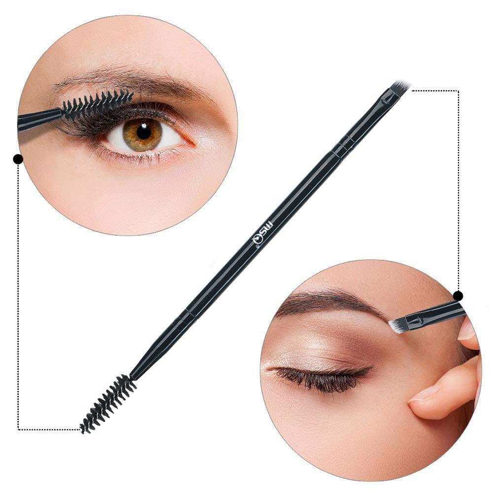 MSQ Duo Eyebrow Brush Perfect 2 In 1 Angled Eyebrow Brush with Spoolie Brush Makeup Brush Eyebrow Comb Lash Brush (Black)