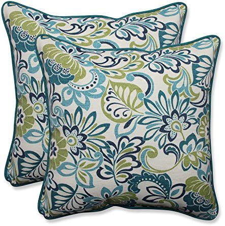 Pillow Perfect Outdoor Indoor Zoe Mallard Throw Pillows, 18.5 x 18.5 , Blue, 2 Pack