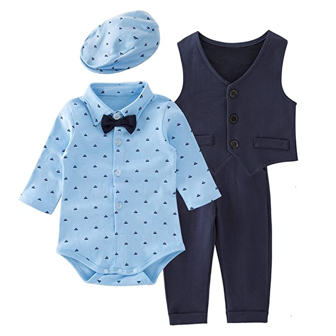 d413508a5e3b Amazon.com  May s Baby Boys  Vest Long Sleeves Romper Pants ...
