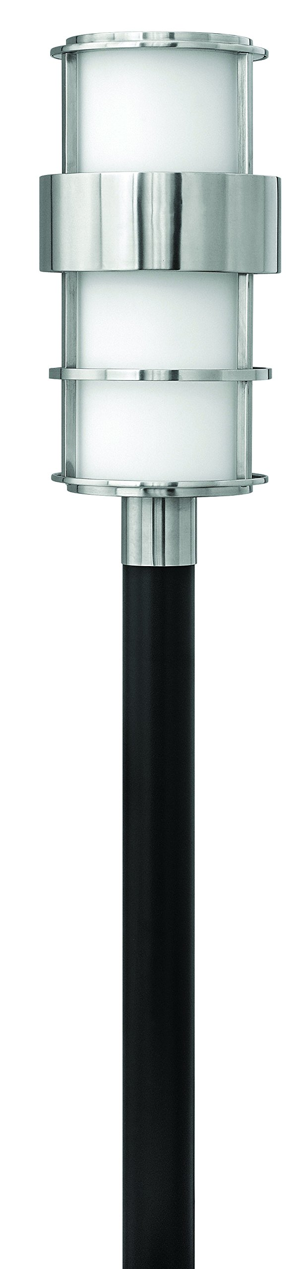 Hinkley 1901SS Contemporary Modern One Light Post Top/ Pier Mount from Saturn collection in Pwt, Nckl, B/S, Slvr.finish,