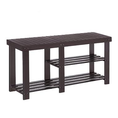 SONGMICS Bamboo Shoe Rack Bench for Boots, Entryway Storage Organizer, 3 Tiers Shoe Shelf, Multi Function for Hallway Bathroom Living Room Corridor and Garden Brown ULBS06Z