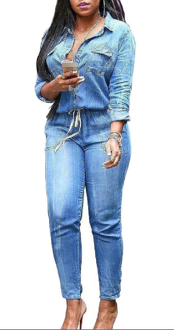 XTX Womens Denim Long Sleeve Button Stylish Long Rompers Jumpsuits