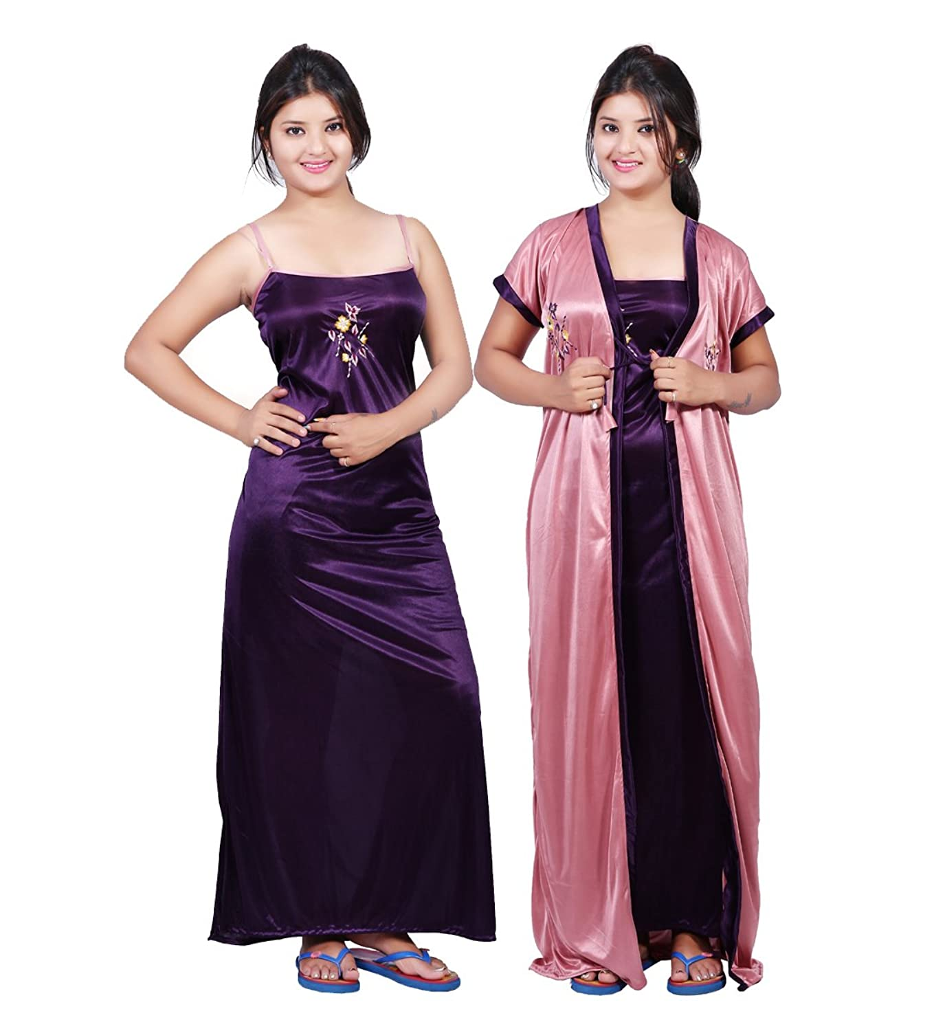 f2ca578937332 Bailey Women Satin Combo Of Night Dress (BAILEY0153  Purple   Light Pink   Free Size)