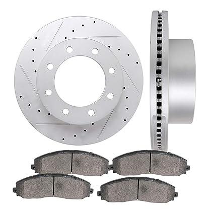 Front Disc Rotors /& Ceramic Brake Pads Fits Ford F-250 Super Duty F-350