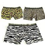 KAKA(TM) Men's Boxer Underwear Cartoon Pattern Breathable Absorbent Briefs 3-Pcs Set-(30-33inch/55-70kg)-XL