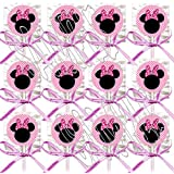 Minnie Mouse Silhouette Polka Dots Party Favors Supplies Decorations GENERIC Lollipops w/ Hot Pink Bows Favors -12 pcs