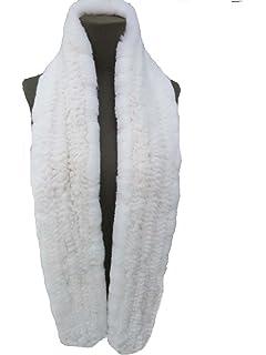 DTLDYG Femme Tissage Serré Echarpe Forrure Veritable de Lapin Rex L 170 97406f9b410