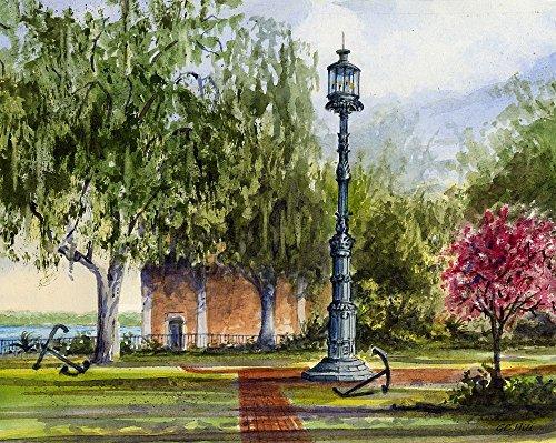 Savannah Harbor - Old Harbor Light, Emmet Park, Savannah Georgia. Matted Watercolor Lighthouse Art Prints (8x10)
