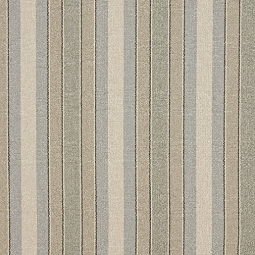 Green Striped Washed Linen Look Woven Upholstery Fabric By The Yard (Linen Designer Upholstery Fabric)