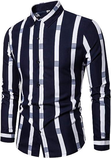 Domple Men Print Slim Fit Long Sleeve Lapel Casual Business Button Up Dress Shirt