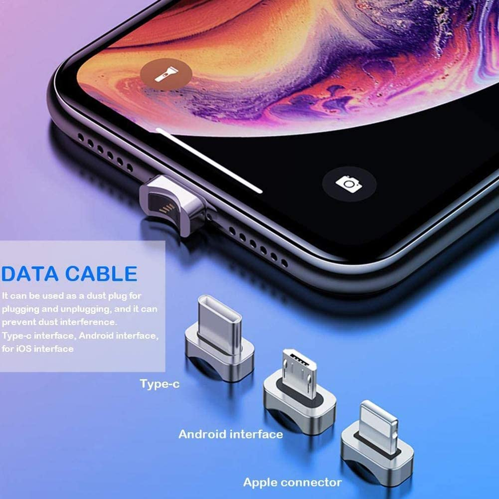 YCKZZR USB Cable 2.4 180 /° Free to Rotate Strong Magnetic Force Charging Cable High-Speed Data Transmission Supported Lightning//Type C Interface Mobile Tablet