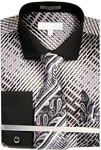 Crossing Pattern (Men's Crossing Stripe Pattern Dress Shirt French Cuffs Tie Hanky Cufflinks - Black 19.5 36-37)
