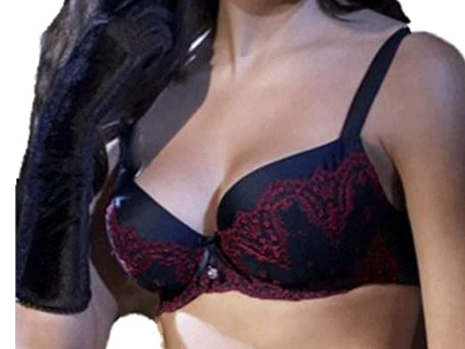 Masquerade Minuet Underwired Padded Bra Black   Red 32D  Amazon.co ... 183463652