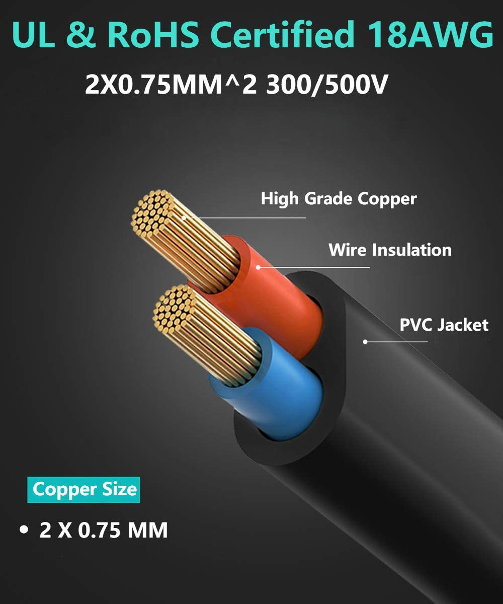 5FT, Black 5Ft 2 Prong Ac Wall Cable 2 Slot Power Cord for Led LCD Tv Samsung Lg Sharp Canon Pixma Hp Brother Epson Lexmark Printer Ps2 Ps3 Slim Ps4 Dell Sony Asus Toshiba