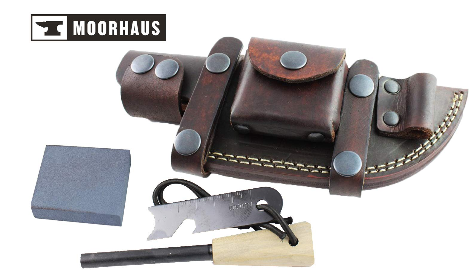 Moorhaus Handcrafted Leather Knife Sheath for Tracker, Bushcraft/skinner Knife Horizontal Right or Left handed Scout Style (Full Ferro Left Brown)