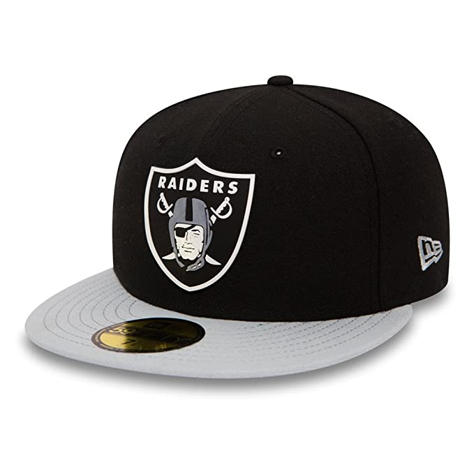 Gorra New Era - 59Fifty Nfl Oakland Raiders Team Rubber Logo negro gris   Amazon.es  Ropa y accesorios 128856df4a1
