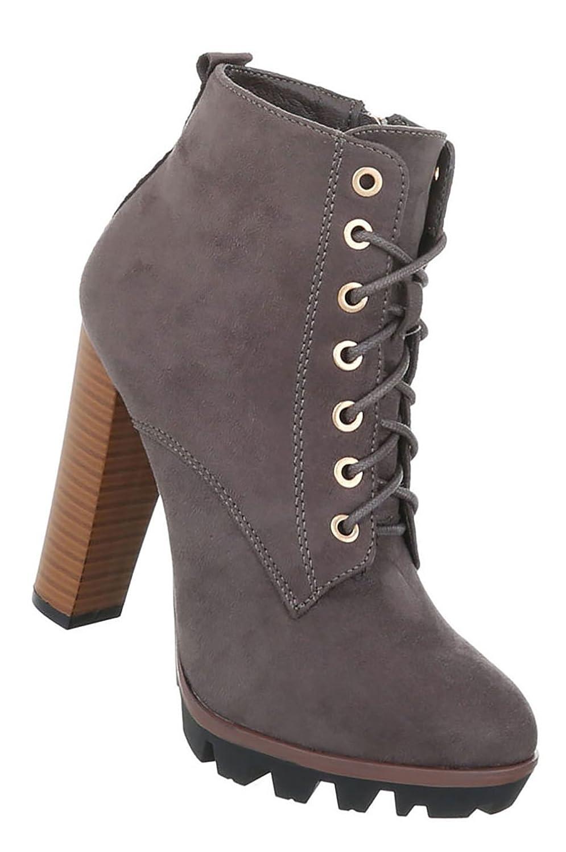 Damen Schuhe Stiefeletten High Heels Schnür Boots  37 EU|Grau