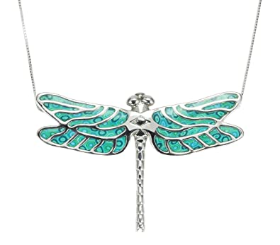 55fcf63dc Amazon.com: 925 Sterling Silver Dragonfly Necklace Pendant Handmade Sea  Green Polymer Clay Jewelry, 16.5