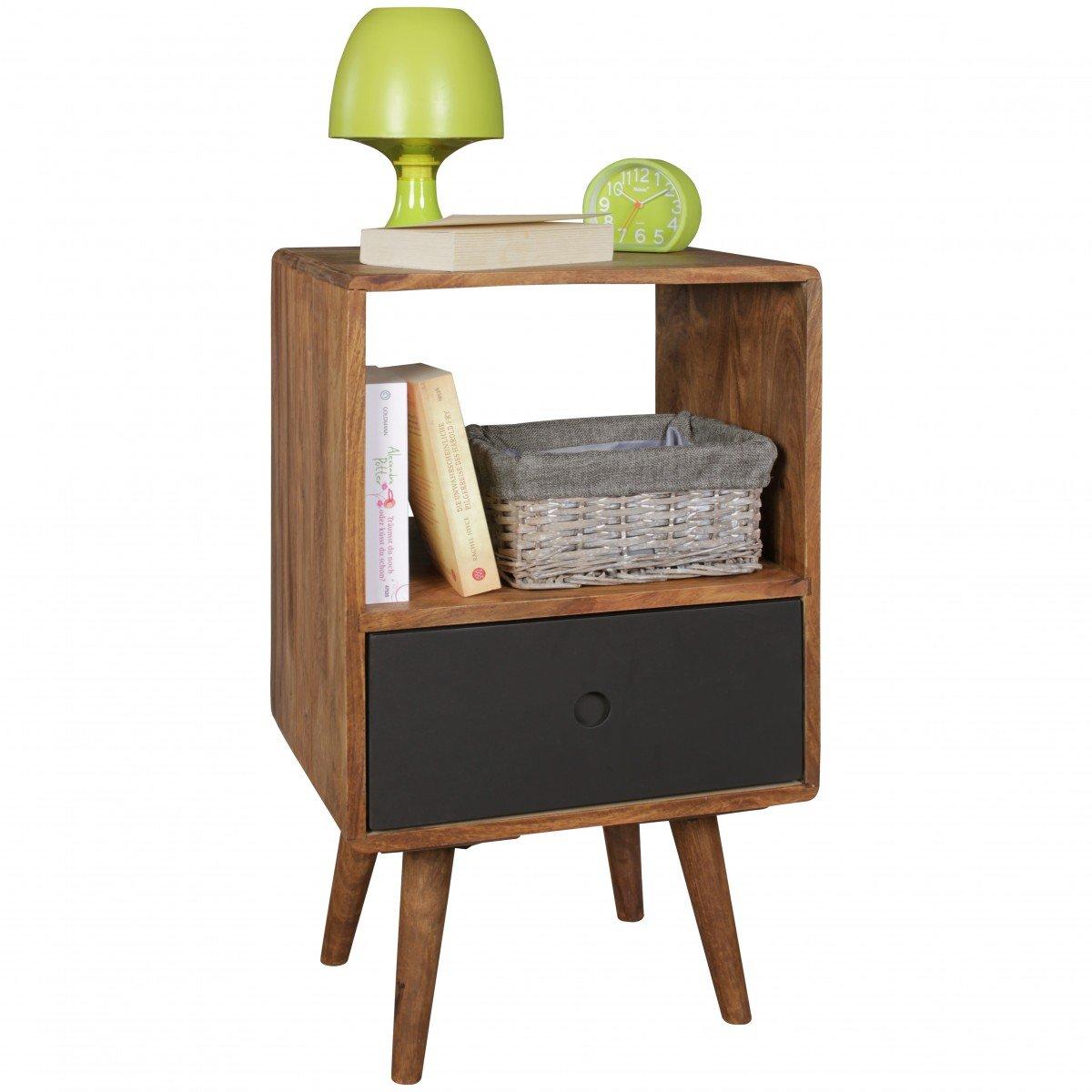Home Collection24 Retro Nachtkonsole REPA Sheesham-Holz Nachttisch mit Schublade Dunkelbraun schwarz   Design Nachtkästchen 40 x 35 x 70 cm   Großes Nachtschränkchen