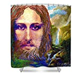 Pixels Shower Curtain (74'' x 71'') '' Contemporary Jesus Painting, Chalice Of Life''