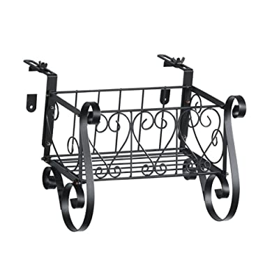 Collections Black Iron Scrollwork Deck Rail Planter Box with Adjustable Brackets, Small: Garden & Outdoor