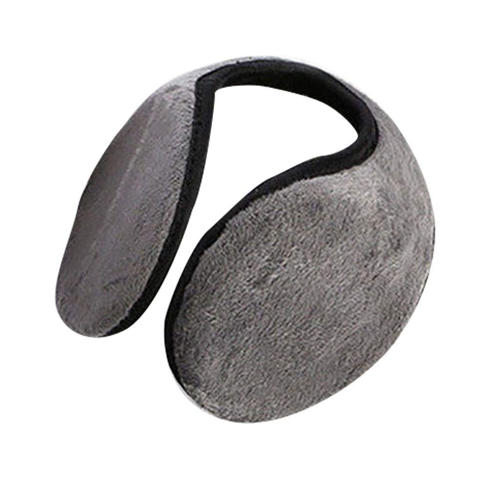 ZX101 Men Winter Solid Color Plush Ear Muffs Earmuffs Warmer Behind The Head Band