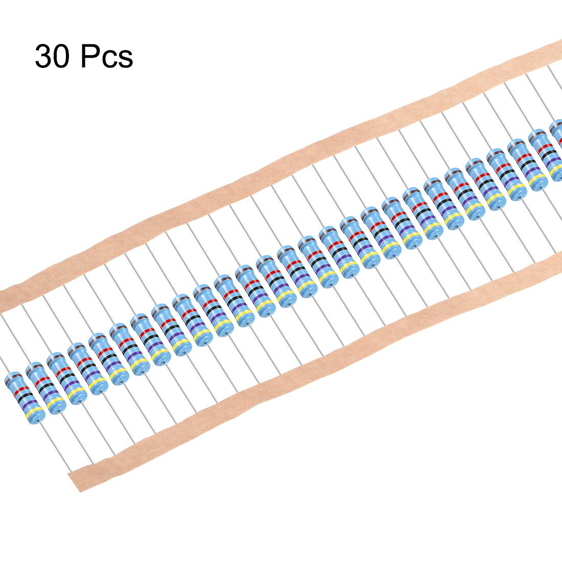 sourcing map Metal Film Resistors 1M Ohm 1W 1/% Tolerances 5 Color Bands Pack of 30