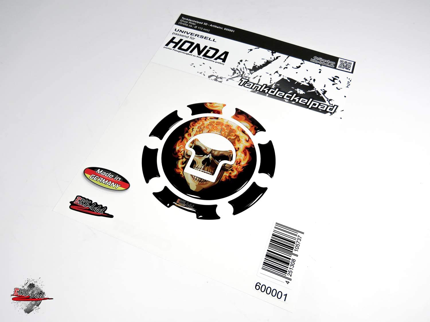 BIKE-label 600001-VA Tankdeckel Pad Ghost Rider universell kompatibel f/ür Honda