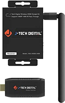 J-Tech Digital Wireless HDMI Dongle//Adapter//Extender Kit Supporting 1080p 164 with IR Passthrough JTECH-WDEX-50M