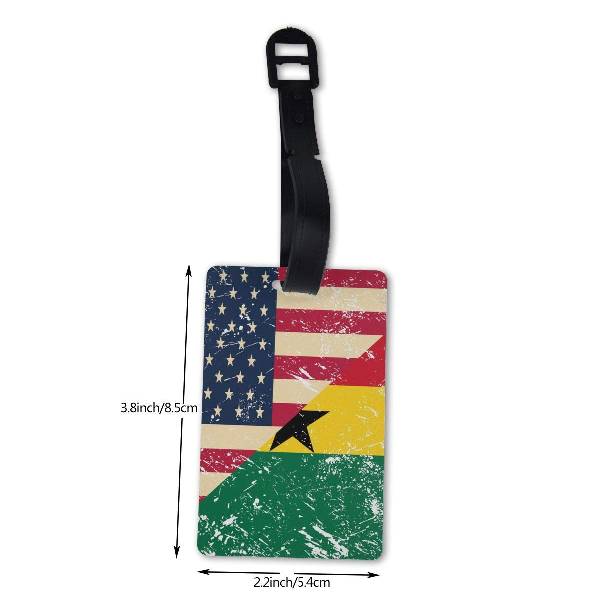 NB UUD American and Ghana Retro Flag Travel Luggage Tag Printed Employees Card Luggage Tag Holders Travel ID Identification Labels for Baggage Suitcases Bags